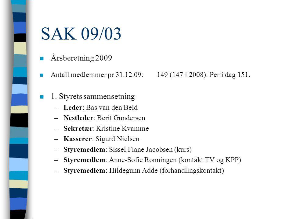 SAK 09/03 n Årsberetning 2009 n Antall medlemmer pr 31.12.09: 149 (147 i 2008).