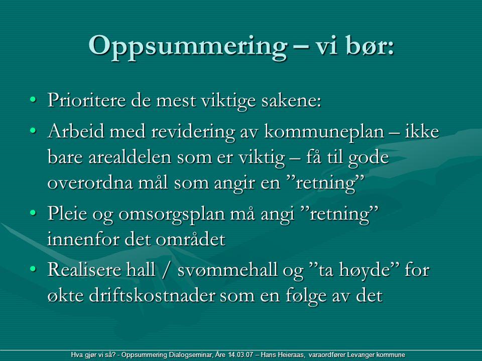 Hva gjør vi så? - Oppsummering Dialogseminar, Åre 14.03.07 – Hans Heieraas, varaordfører Levanger kommune Oppsummering – vi bør: Prioritere de mest vi