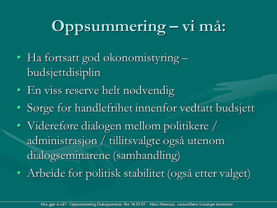 Hva gjør vi så? - Oppsummering Dialogseminar, Åre 14.03.07 – Hans Heieraas, varaordfører Levanger kommune Oppsummering – vi må: Ha fortsatt god økonom