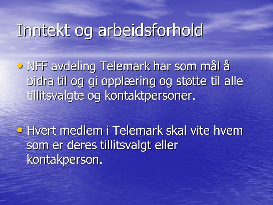 Inntekt og arbeidsforhold NFF avdeling Telemark har som mål å bidra til og gi opplæring og støtte til alle tillitsvalgte og kontaktpersoner.