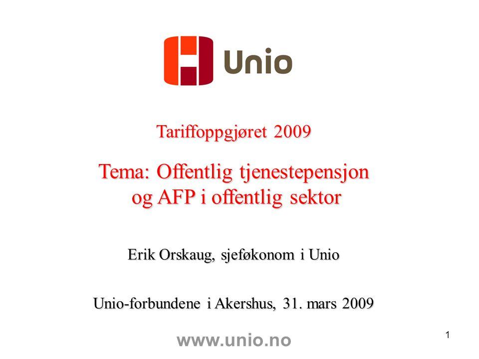 1 Tariffoppgjøret 2009 Tema: Offentlig tjenestepensjon og AFP i offentlig sektor og AFP i offentlig sektor Erik Orskaug, sjeføkonom i Unio Unio-forbundene i Akershus, 31.