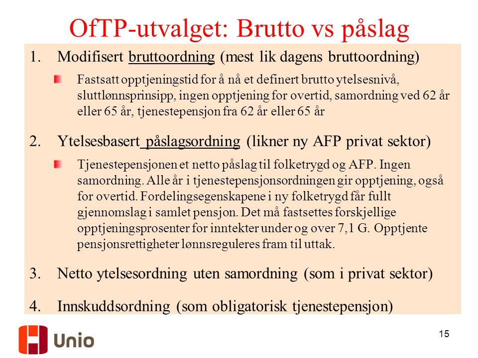 15 OfTP-utvalget: Brutto vs påslag 1.Modifisert bruttoordning (mest lik dagens bruttoordning) Fastsatt opptjeningstid for å nå et definert brutto ytel