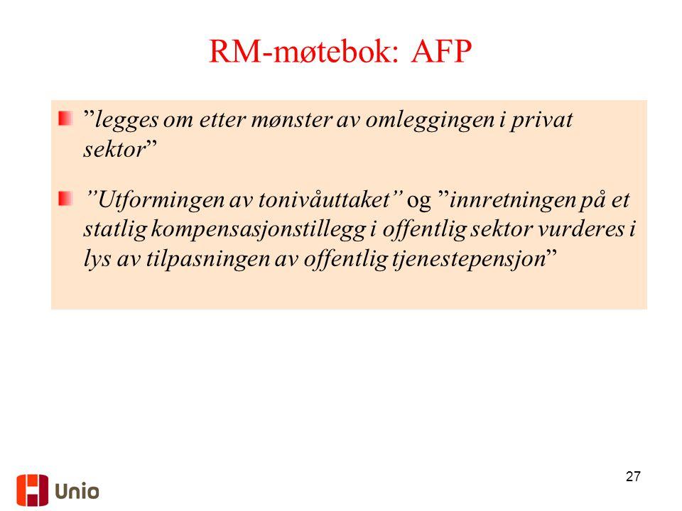 """27 RM-møtebok: AFP """"legges om etter mønster av omleggingen i privat sektor"""" """"Utformingen av tonivåuttaket"""" og """"innretningen på et statlig kompensasjon"""
