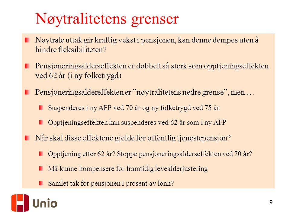 9 Nøytralitetens grenser Nøytrale uttak gir kraftig vekst i pensjonen, kan denne dempes uten å hindre fleksibiliteten? Pensjoneringsalderseffekten er