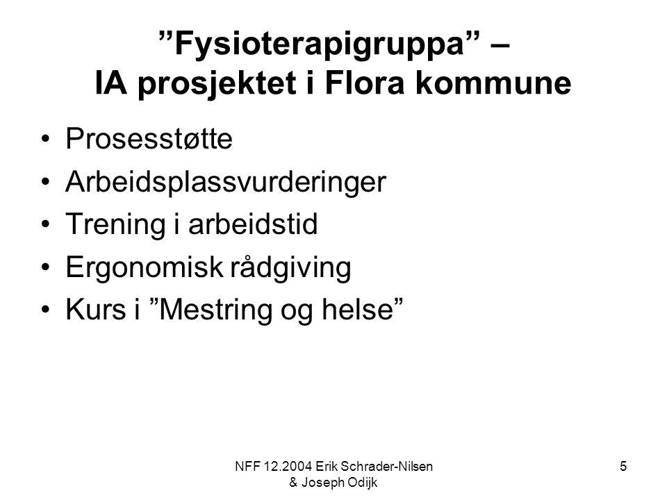"NFF 12.2004 Erik Schrader-Nilsen & Joseph Odijk 5 ""Fysioterapigruppa"" – IA prosjektet i Flora kommune Prosesstøtte Arbeidsplassvurderinger Trening i a"