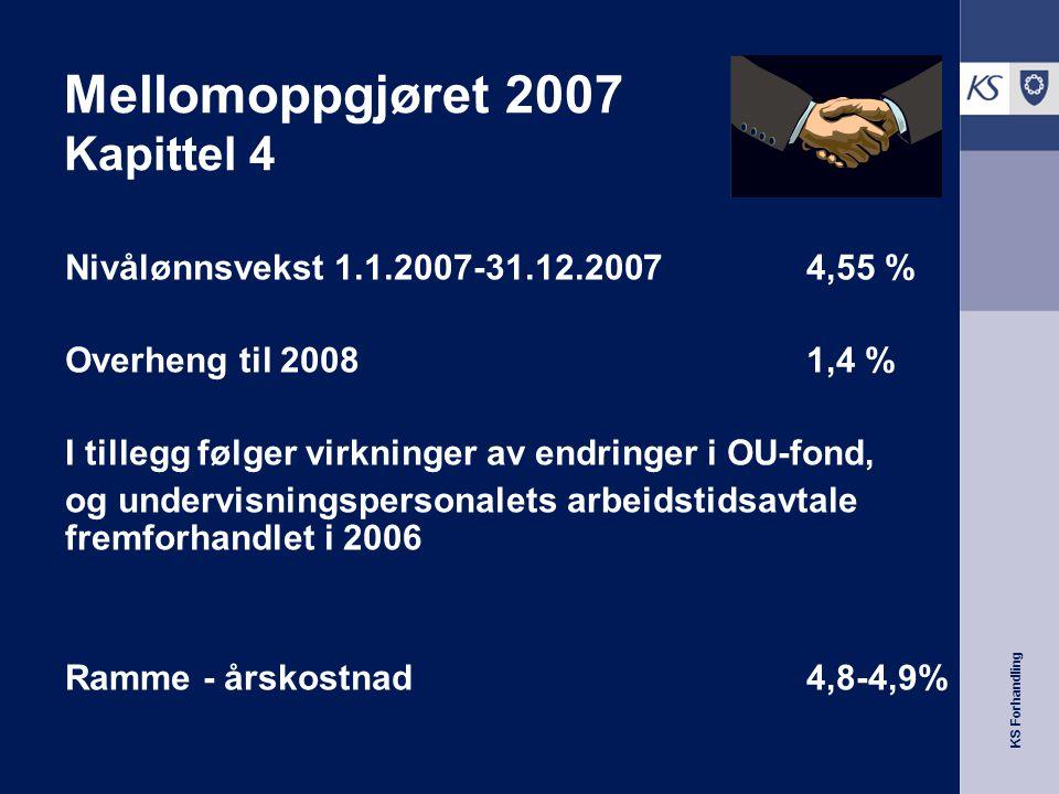 KS Forhandling Mellomoppgjøret 2007 Kapittel 4 Nivålønnsvekst 1.1.2007-31.12.2007 4,55 % Overheng til 2008 1,4 % I tillegg følger virkninger av endringer i OU-fond, og undervisningspersonalets arbeidstidsavtale fremforhandlet i 2006 Ramme - årskostnad 4,8-4,9%