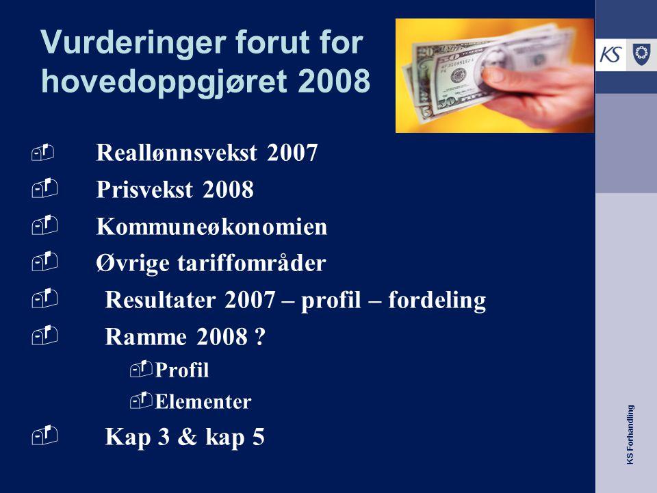 KS Forhandling Vurderinger forut for hovedoppgjøret 2008  Reallønnsvekst 2007  Prisvekst 2008  Kommuneøkonomien  Øvrige tariffområder  Resultater 2007 – profil – fordeling  Ramme 2008 .