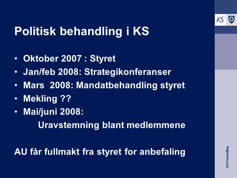 KS Forhandling Politisk behandling i KS Oktober 2007 : Styret Jan/feb 2008: Strategikonferanser Mars 2008: Mandatbehandling styret Mekling .