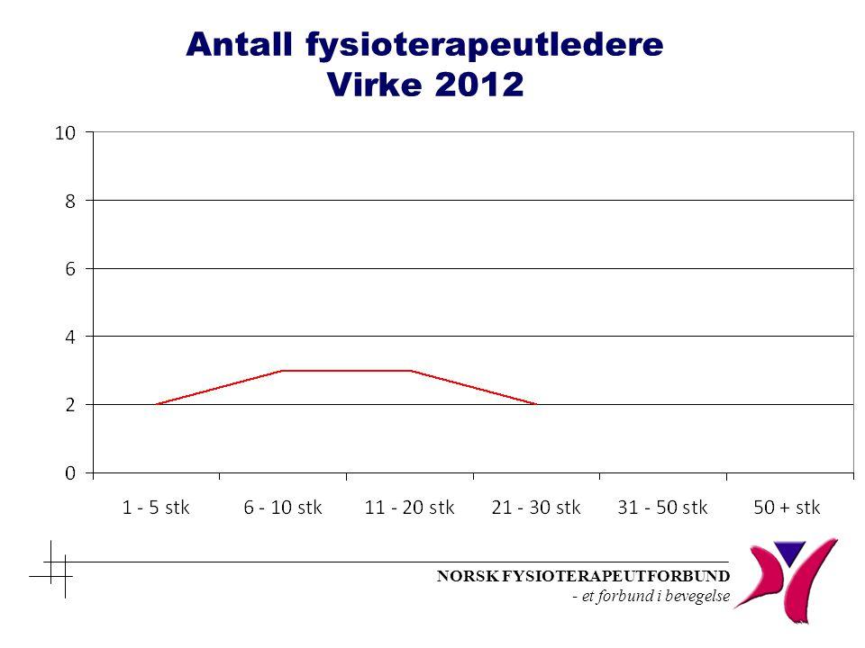 NORSK FYSIOTERAPEUTFORBUND - et forbund i bevegelse Antall fysioterapeutledere Virke 2012