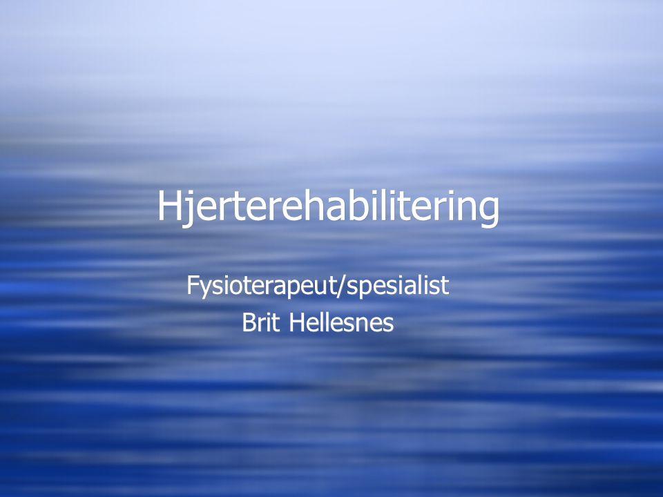 Hjerterehabilitering Fysioterapeut/spesialist Brit Hellesnes Fysioterapeut/spesialist Brit Hellesnes