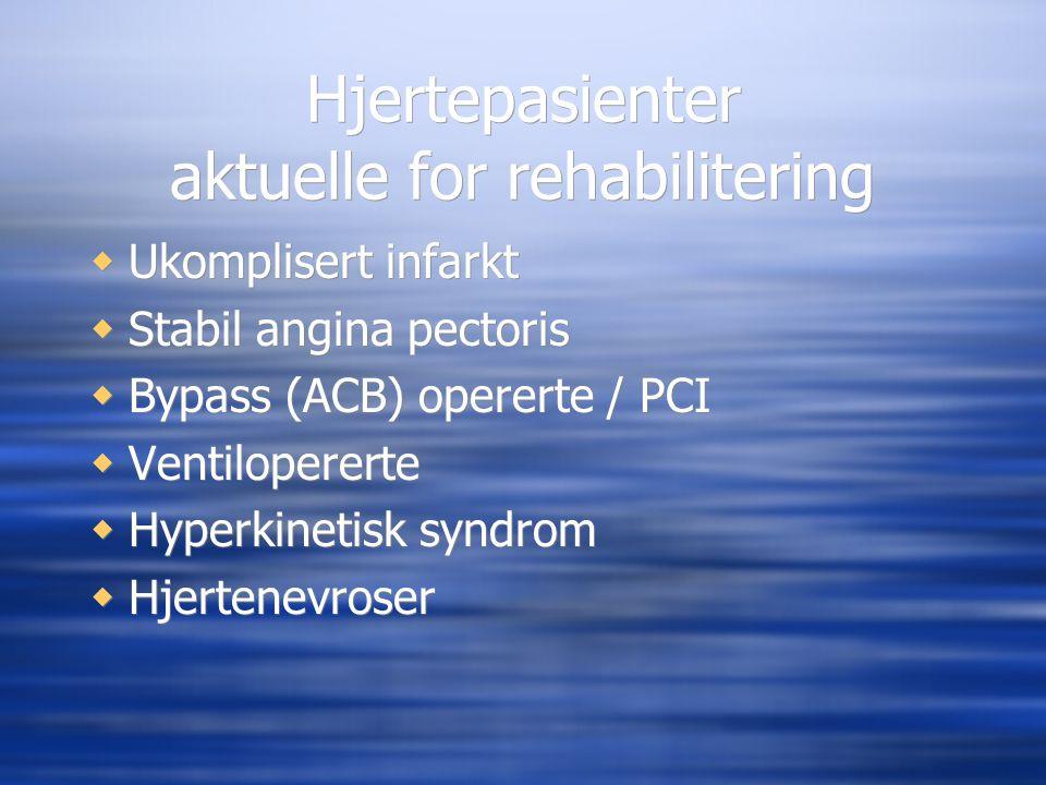 Hjertepasienter aktuelle for rehabilitering  Ukomplisert infarkt  Stabil angina pectoris  Bypass (ACB) opererte / PCI  Ventilopererte  Hyperkinet
