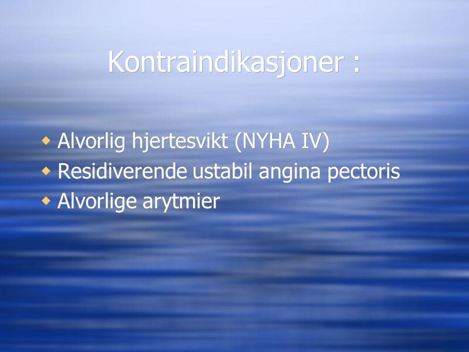 Kontraindikasjoner :  Alvorlig hjertesvikt (NYHA IV)  Residiverende ustabil angina pectoris  Alvorlige arytmier  Alvorlig hjertesvikt (NYHA IV) 