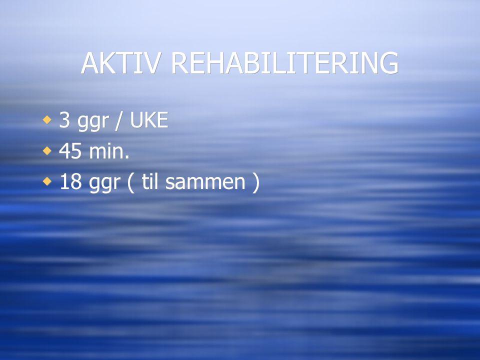 AKTIV REHABILITERING  3 ggr / UKE  45 min.  18 ggr ( til sammen )  3 ggr / UKE  45 min.  18 ggr ( til sammen )