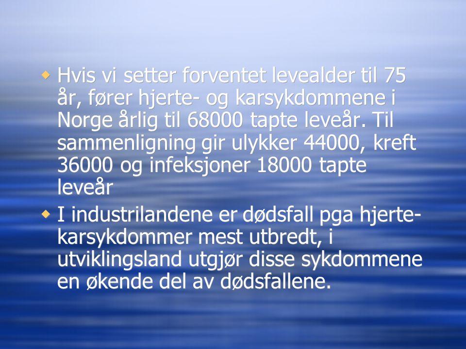  Hvis vi setter forventet levealder til 75 år, fører hjerte- og karsykdommene i Norge årlig til 68000 tapte leveår. Til sammenligning gir ulykker 440