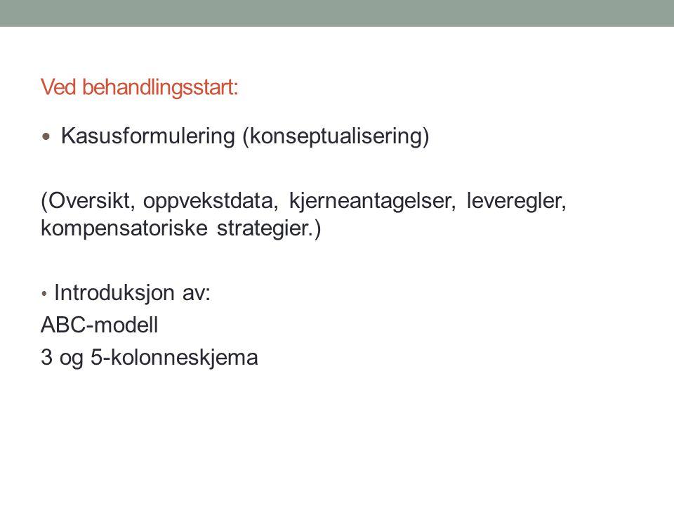 Ved behandlingsstart: Kasusformulering (konseptualisering) (Oversikt, oppvekstdata, kjerneantagelser, leveregler, kompensatoriske strategier.) Introduksjon av: ABC-modell 3 og 5-kolonneskjema