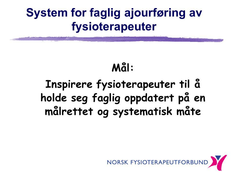 System for faglig ajourføring av fysioterapeuter Mål: Inspirere fysioterapeuter til å holde seg faglig oppdatert på en målrettet og systematisk måte