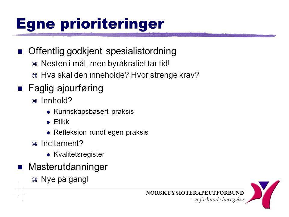 NORSK FYSIOTERAPEUTFORBUND - et forbund i bevegelse Egne prioriteringer n Offentlig godkjent spesialistordning z Nesten i mål, men byråkratiet tar tid.