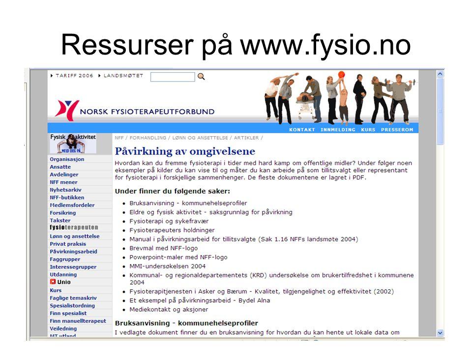 3 Ressurser på www.fysio.no