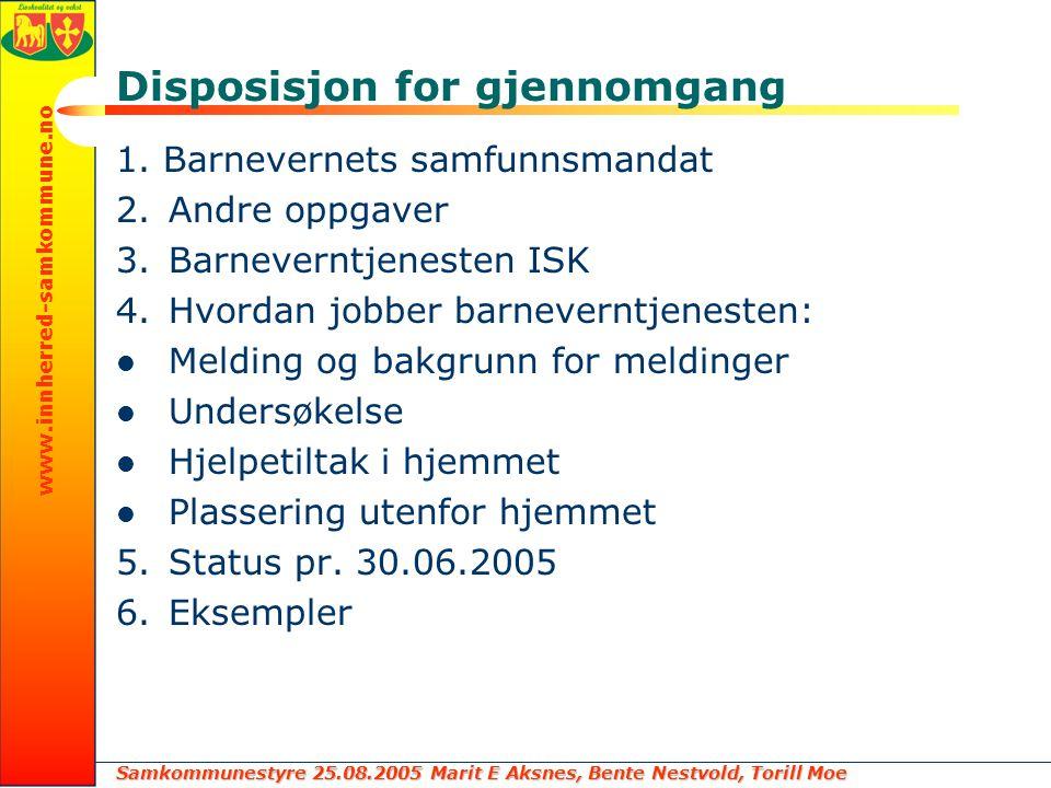Samkommunestyre 25.08.2005 Marit E Aksnes, Bente Nestvold, Torill Moe www.innherred-samkommune.no Disposisjon for gjennomgang 1. Barnevernets samfunns