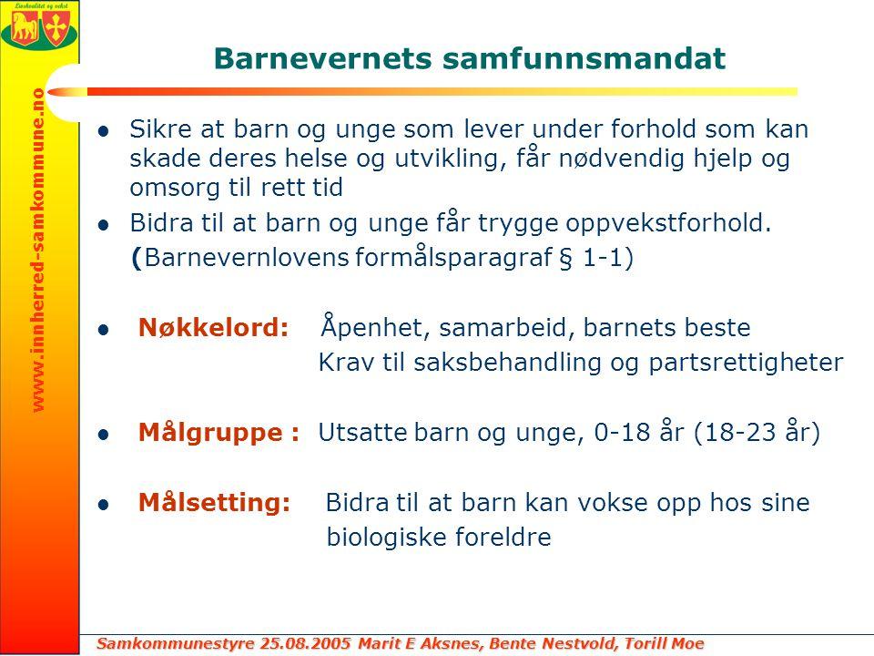 Samkommunestyre 25.08.2005 Marit E Aksnes, Bente Nestvold, Torill Moe www.innherred-samkommune.no Barnevernets samfunnsmandat Sikre at barn og unge so