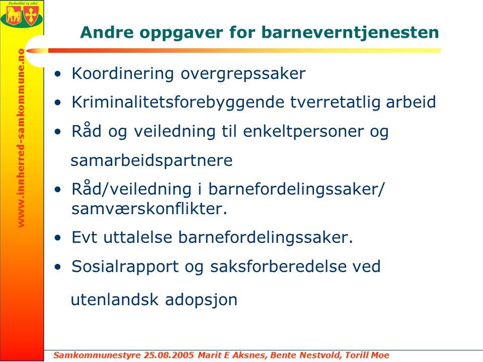 Samkommunestyre 25.08.2005 Marit E Aksnes, Bente Nestvold, Torill Moe www.innherred-samkommune.no Andre oppgaver for barneverntjenesten Koordinering o
