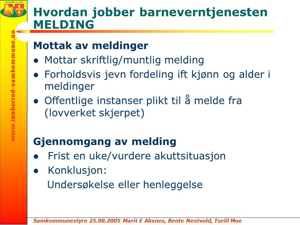Samkommunestyre 25.08.2005 Marit E Aksnes, Bente Nestvold, Torill Moe www.innherred-samkommune.no Hvordan jobber barneverntjenesten MELDING Mottak av