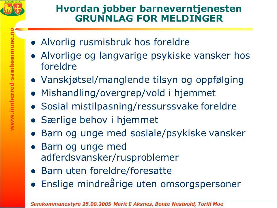 Samkommunestyre 25.08.2005 Marit E Aksnes, Bente Nestvold, Torill Moe www.innherred-samkommune.no Hvordan jobber barneverntjenesten GRUNNLAG FOR MELDI