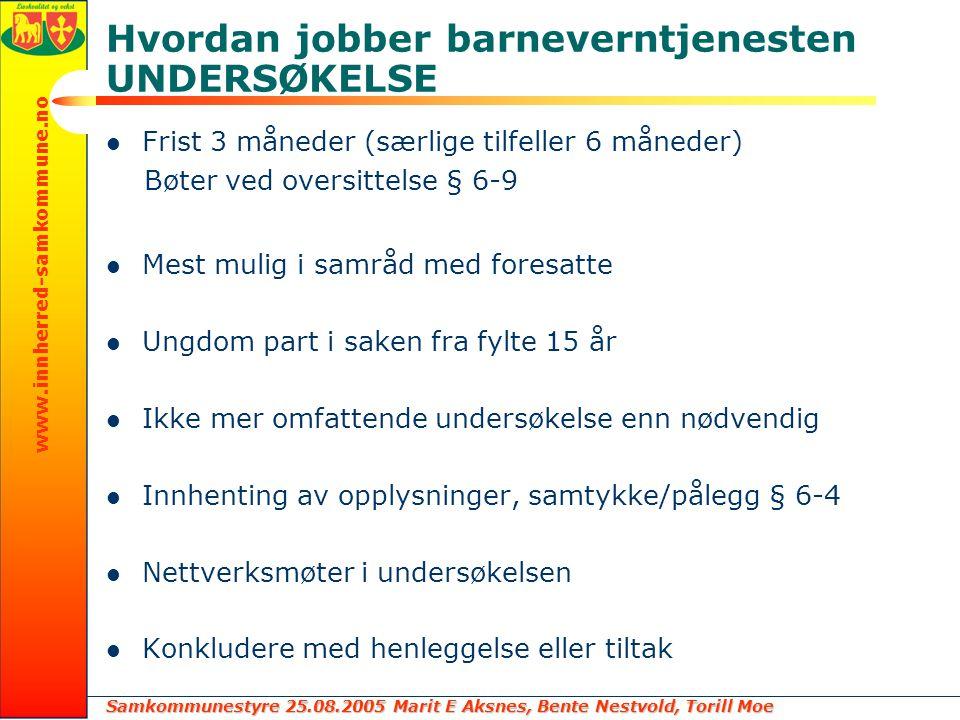 Samkommunestyre 25.08.2005 Marit E Aksnes, Bente Nestvold, Torill Moe www.innherred-samkommune.no Hvordan jobber barneverntjenesten UNDERSØKELSE Frist