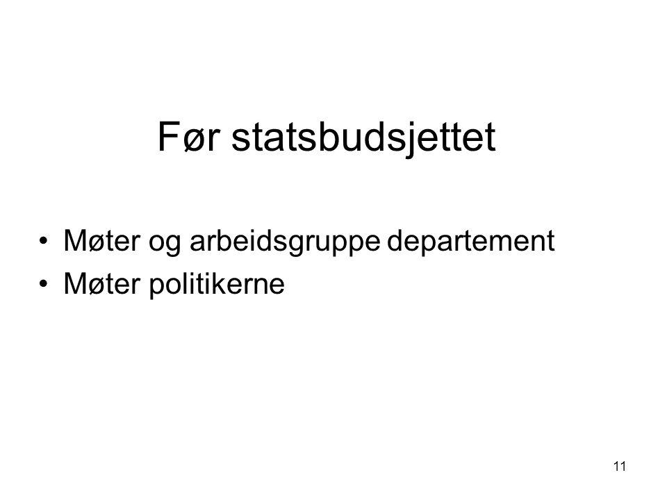 Før statsbudsjettet Møter og arbeidsgruppe departement Møter politikerne 11