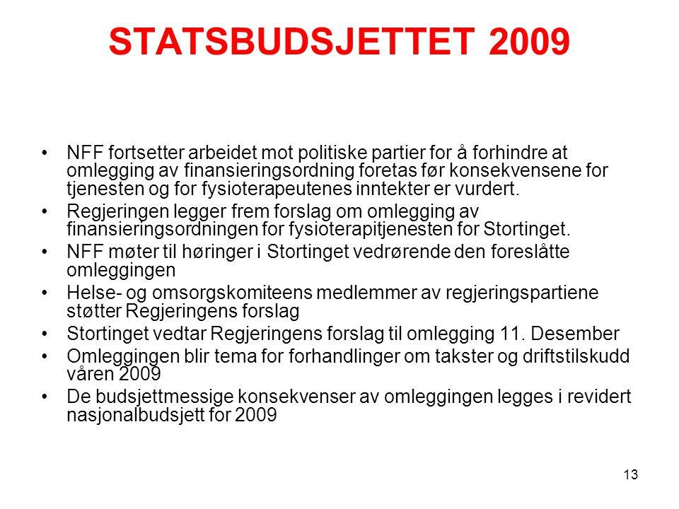 STATSBUDSJETTET 2009 NFF fortsetter arbeidet mot politiske partier for å forhindre at omlegging av finansieringsordning foretas før konsekvensene for tjenesten og for fysioterapeutenes inntekter er vurdert.