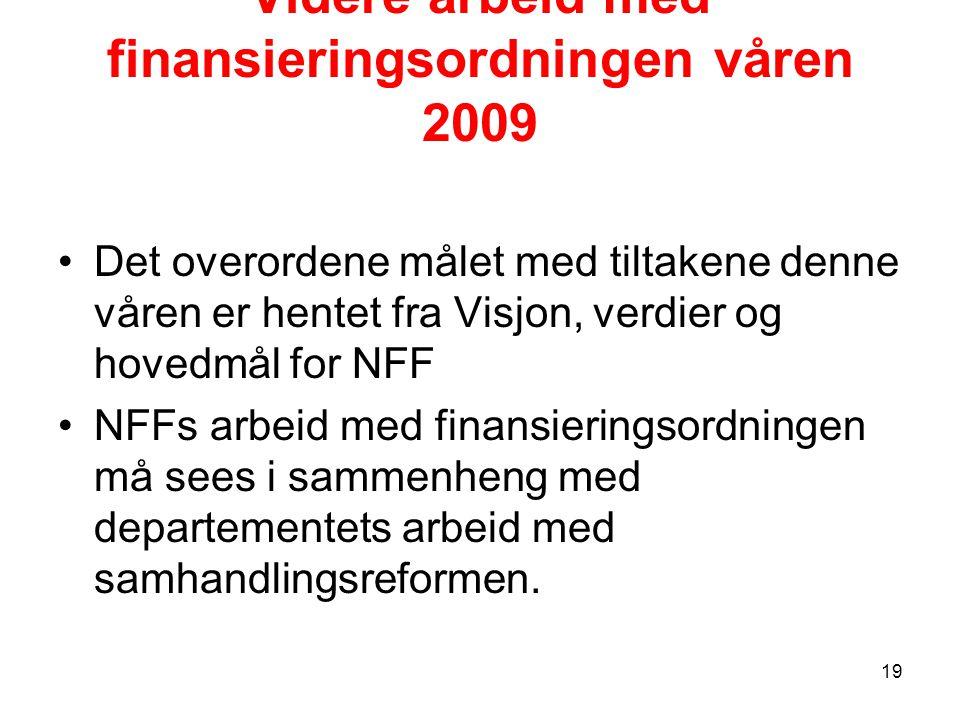 Videre arbeid med finansieringsordningen våren 2009 Det overordene målet med tiltakene denne våren er hentet fra Visjon, verdier og hovedmål for NFF NFFs arbeid med finansieringsordningen må sees i sammenheng med departementets arbeid med samhandlingsreformen.