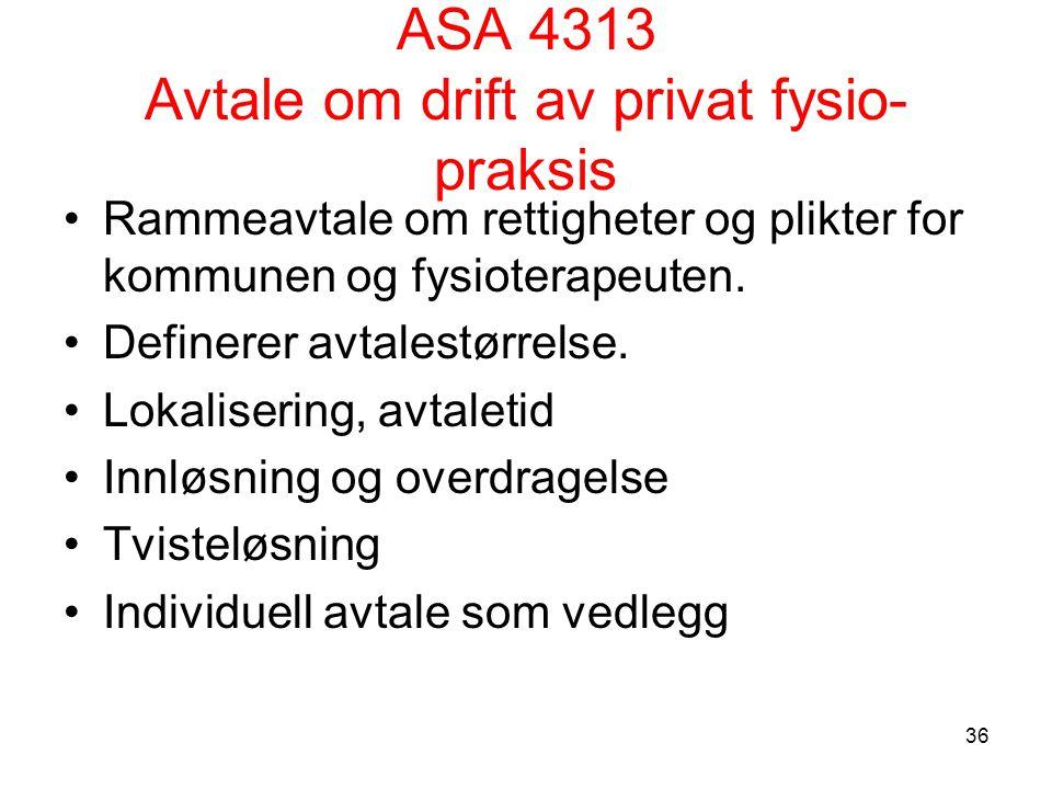 ASA 4313 Avtale om drift av privat fysio- praksis Rammeavtale om rettigheter og plikter for kommunen og fysioterapeuten.