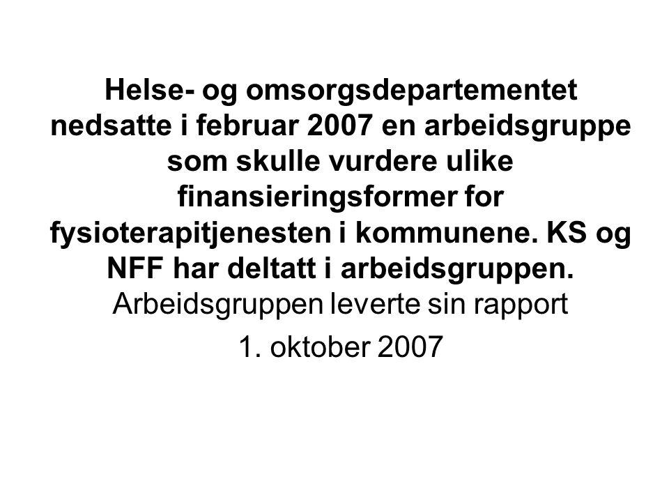 Helse- og omsorgsdepartementet nedsatte i februar 2007 en arbeidsgruppe som skulle vurdere ulike finansieringsformer for fysioterapitjenesten i kommunene.