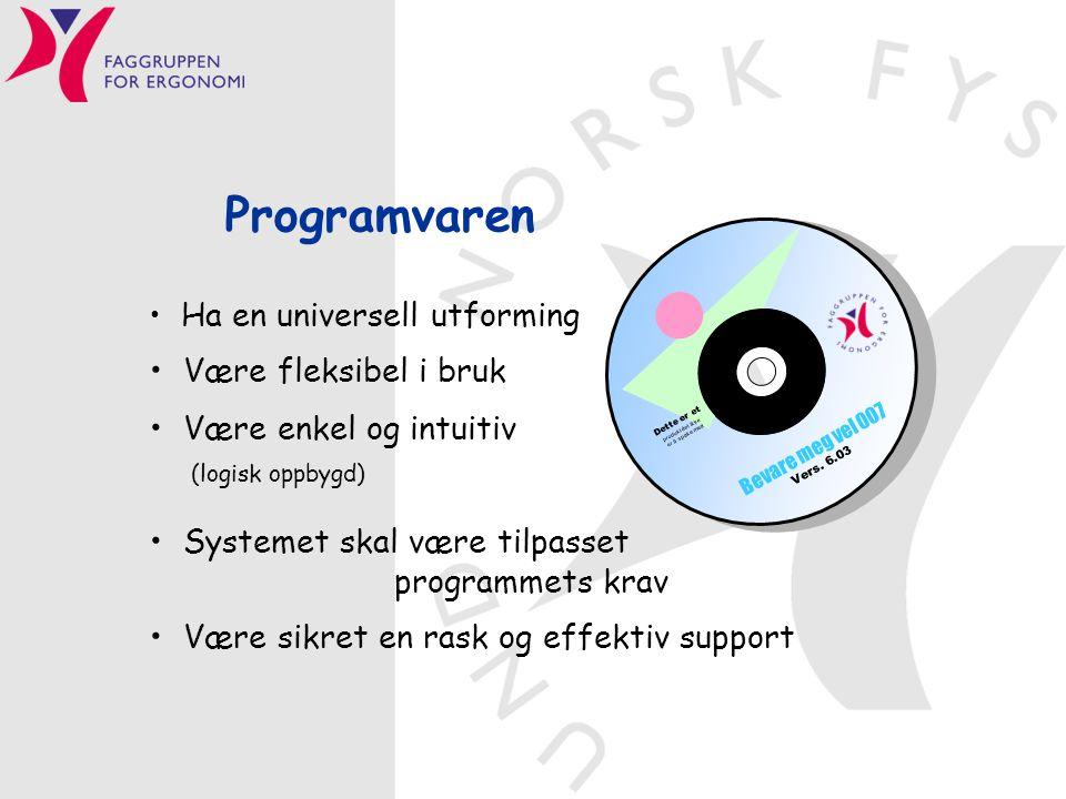 Programvaren Ha en universell utforming Være fleksibel i bruk Være enkel og intuitiv (logisk oppbygd) Systemet skal være tilpasset programmets krav Væ