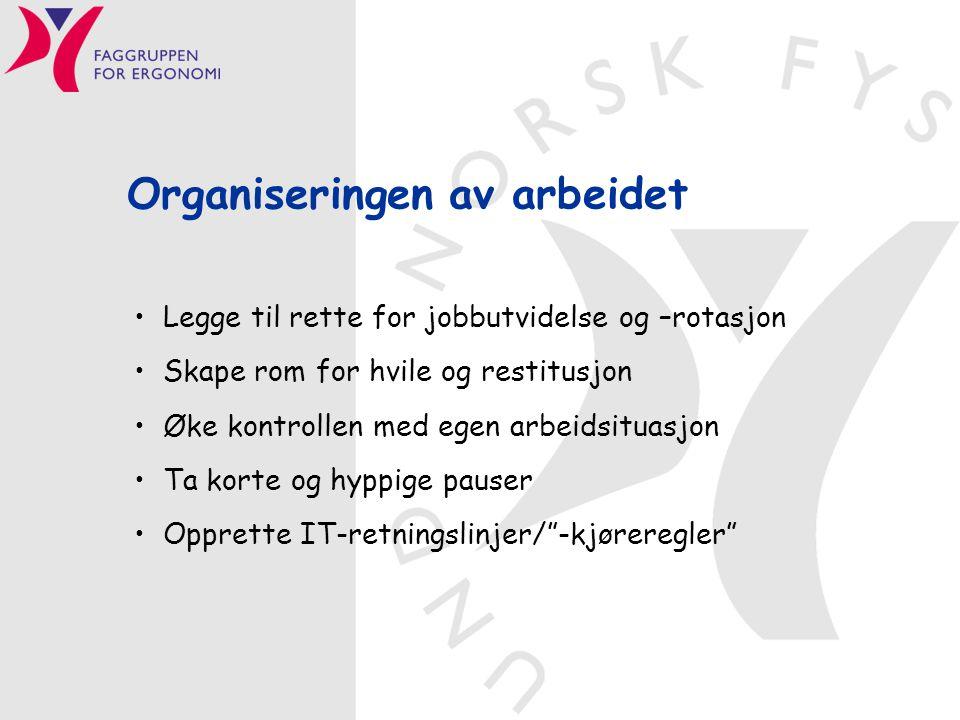 Organiseringen av arbeidet Legge til rette for jobbutvidelse og –rotasjon Skape rom for hvile og restitusjon Øke kontrollen med egen arbeidsituasjon T