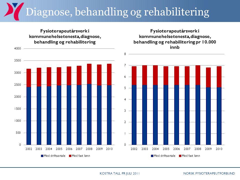 NORSK FYSIOTERAPEUTFORBUND Diagnose, behandling og rehabilitering KOSTRA TALL PR JULI 2011