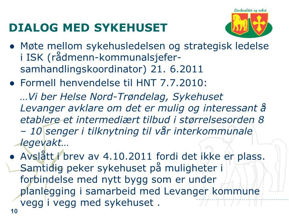 DIALOG MED SYKEHUSET Møte mellom sykehusledelsen og strategisk ledelse i ISK (rådmenn-kommunalsjefer- samhandlingskoordinator) 21.