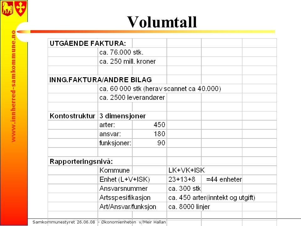 www.innherred-samkommune.no Samkommunestyret 26.06.08 – Økonomienheten v/Meir Hallan Volumtall