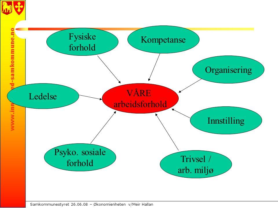 www.innherred-samkommune.no Samkommunestyret 26.06.08 – Økonomienheten v/Meir Hallan VÅRE arbeidsforhold Fysiske forhold Kompetanse Organisering Innstilling Trivsel / arb.