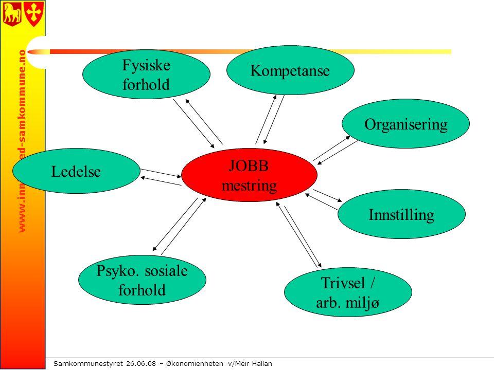 www.innherred-samkommune.no Samkommunestyret 26.06.08 – Økonomienheten v/Meir Hallan JOBB mestring Fysiske forhold Kompetanse Organisering Innstilling Trivsel / arb.