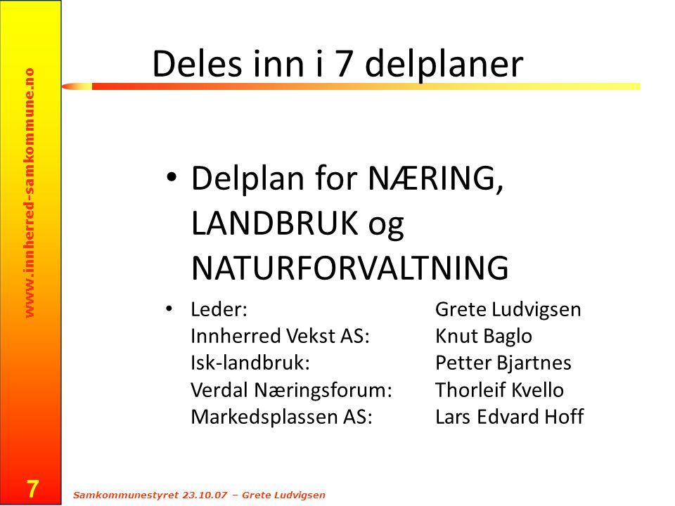 www.innherred-samkommune.no Samkommunestyret 23.10.07 – Grete Ludvigsen 7 Deles inn i 7 delplaner Delplan for NÆRING, LANDBRUK og NATURFORVALTNING Led
