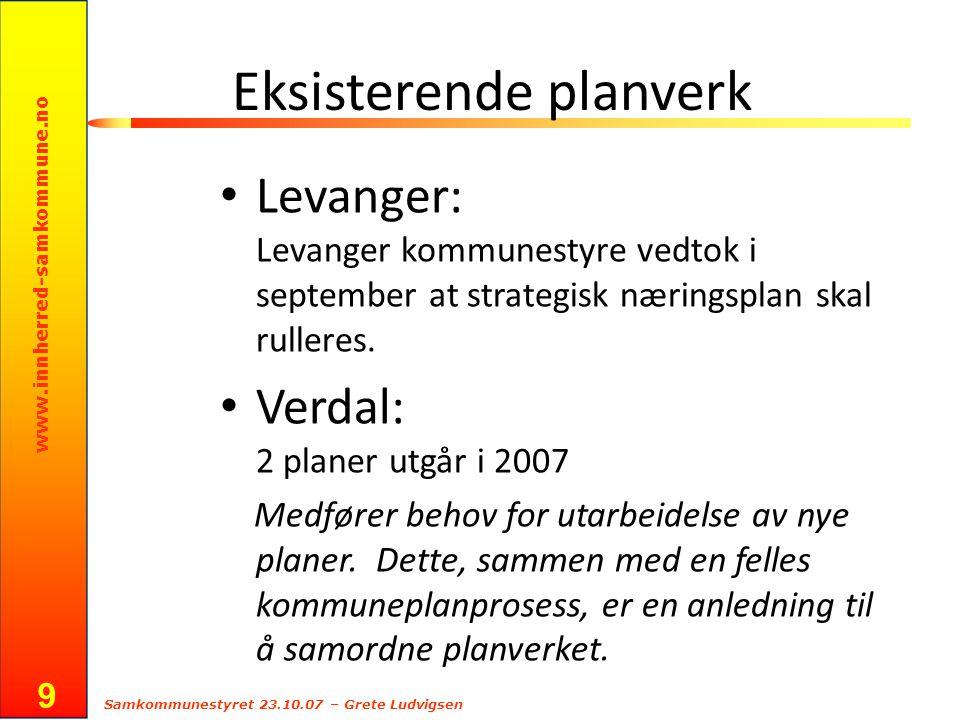 www.innherred-samkommune.no Samkommunestyret 23.10.07 – Grete Ludvigsen 9 Eksisterende planverk Levanger: Levanger kommunestyre vedtok i september at