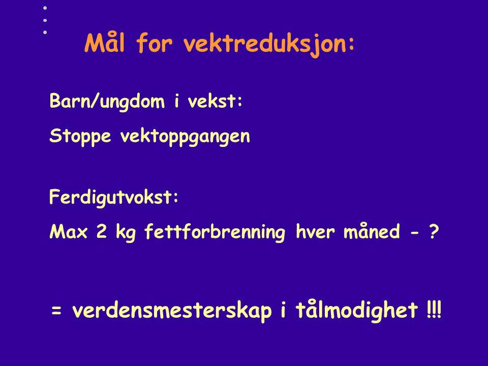 Mål for vektreduksjon: Ferdigutvokst: Max 2 kg fettforbrenning hver måned - ? Barn/ungdom i vekst: Stoppe vektoppgangen = verdensmesterskap i tålmodig