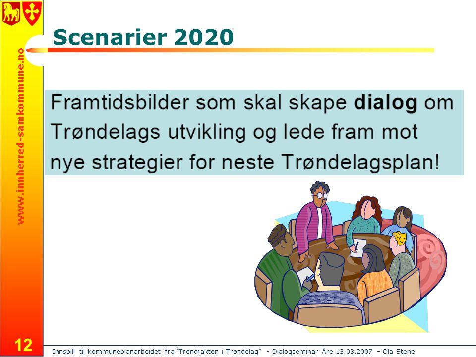 Innspill til kommuneplanarbeidet fra Trendjakten i Trøndelag - Dialogseminar Åre 13.03.2007 – Ola Stene www.innherred-samkommune.no 12 Scenarier 2020