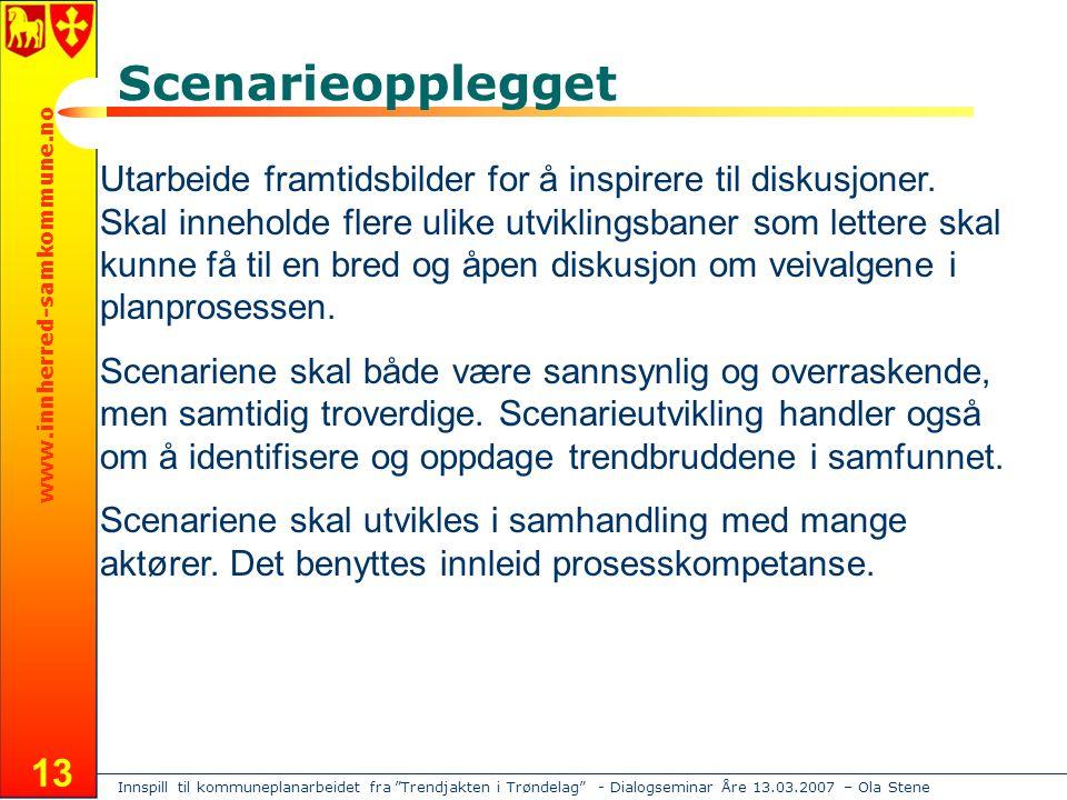 Innspill til kommuneplanarbeidet fra Trendjakten i Trøndelag - Dialogseminar Åre 13.03.2007 – Ola Stene www.innherred-samkommune.no 13 Scenarieopplegget Utarbeide framtidsbilder for å inspirere til diskusjoner.