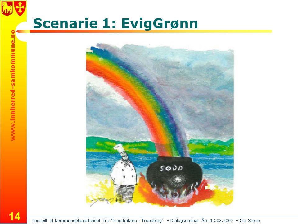 Innspill til kommuneplanarbeidet fra Trendjakten i Trøndelag - Dialogseminar Åre 13.03.2007 – Ola Stene www.innherred-samkommune.no 14 Scenarie 1: EvigGrønn
