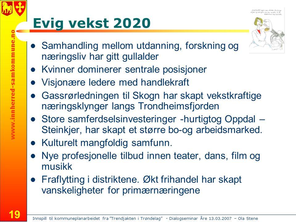 """Innspill til kommuneplanarbeidet fra """"Trendjakten i Trøndelag"""" - Dialogseminar Åre 13.03.2007 – Ola Stene www.innherred-samkommune.no 19 Evig vekst 20"""