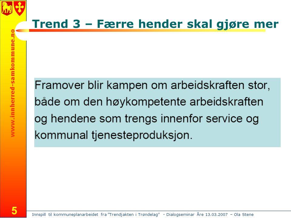 Innspill til kommuneplanarbeidet fra Trendjakten i Trøndelag - Dialogseminar Åre 13.03.2007 – Ola Stene www.innherred-samkommune.no 5 Trend 3 – Færre hender skal gjøre mer