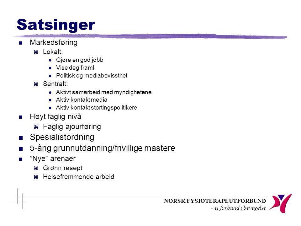 NORSK FYSIOTERAPEUTFORBUND - et forbund i bevegelse Satsinger n Markedsføring z Lokalt: l Gjøre en god jobb l Vise deg fram.