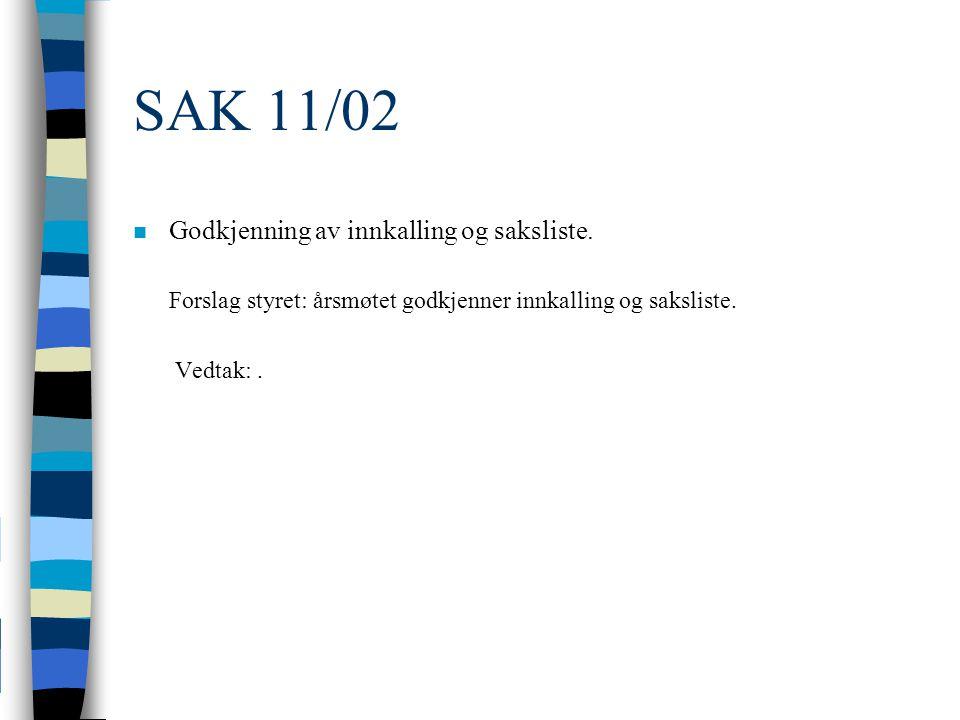 SAK 11/02 n Godkjenning av innkalling og saksliste.